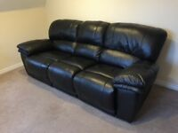 HARLEY Black Leather 3 Seater Manual Recliner Sofa