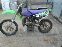 KX 85 BIG WHEEL , STARTS EASY AND RIDES GREAT , VERY FAST 2 STROKE OFF ROAD BIKE CHEAP TO CLEAR