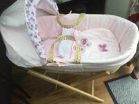 Girls pink Moses basket with stand