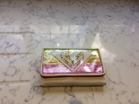Girls Pink and White Roxy Sequinned Wallet
