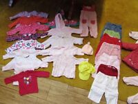 Girl 3-6 mths bundle of tops, jumpers, trousers, coats, sleepsuits, vests, dress. - 44 items