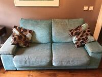 Brown and teal sofa and 2 occasional chairs