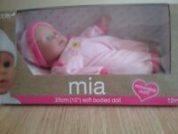 Dolls world Mia soft bodied doll 25cm new in the box