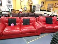 Red leather 3&2 sofa suite for 225