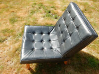 Chair, black leather-look, retro 1960s