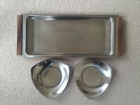 Vintage Retro Danish Drinks Tray and Snack Dishes