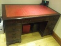 Oak writing desk with Leather inlay