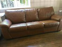 Chestnut leather sofa bed £100