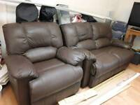 Leather two seater reclining sofa & single manual reclining chair brown