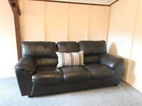Luxury dark brown full leather ~ 3 seater sofa suite