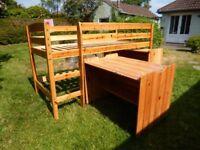 Midi sleeper pine bed with desk