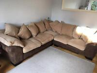 DFS Martinez brown and cream corner sofa, footstool various sections