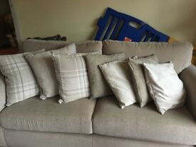 Cushions, variety natural colours x 7, some from Next, can be sold separately.