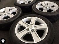 NEW GENUINE MAZDA 16'' ALLOY WHEELS & TYRES - 5 X 114.3 - 205 55 16 - GLOSS SILVER - Wheel Smart
