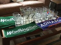Selection of Pint Glasses & Other Glasses Total 25 & 7 Bar Towels Idea for Home Bar