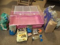 Hamster cage and items for sale