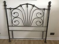 ANTIQUE STYLE METAL SILVER DOUBLE HEADBOARD