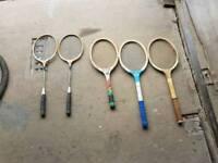 Vintage tennis and badminton rackets