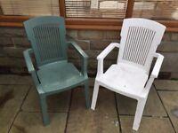 Plastic Garden Chairs x4