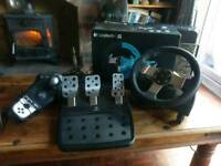Logitech G27 force feedback well and pedal set
