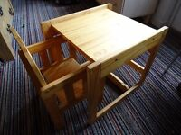 Wooden high chair converts to table and chair
