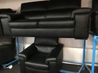 New/Ex Display Reid Liberata Black Leather 3 Setaer + 1 Seater Chair (movable head rest)