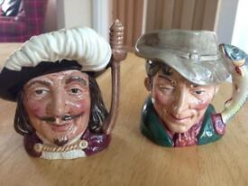 Royal Doulton Pottery Toby Jugs Small The Poacher and Porthos
