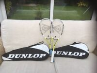 Two Dunlop airogel ultimate squash racquets for sale in very good condition,almost as new.