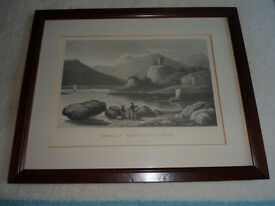 Framed Old Engraving of Dunollie Castle, Oban.