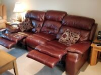 Leather recliner sofa 3 seater moreno