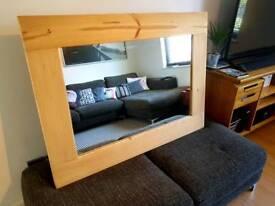 Large Heavy Pine Wooden Rectangular Mirror - 118cm x 88cm