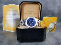 Breitling Navitimer Silver Strap Blue Face - Complete Set Box And Papers 1 Year Free Warranty