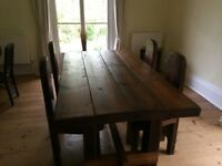 Solid dark oak dining table made from reclaimed timber with 4 Gothic style chairs
