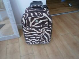 BROWN ANIMAL PRINT SUITCASE 16 BY 14