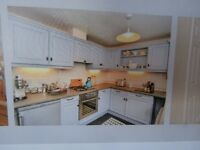 kitchen units and cooker and hob