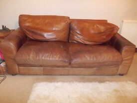 Free 3 and 2 seater brown leather sofas