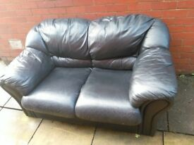 Free black leather 2 seater sofa