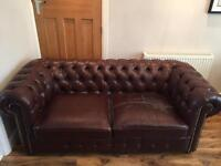 FREE!! 2 and 3 (two & three) seater brown leather Chesterfield sofa / sofas