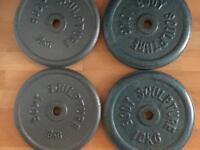 4x 10kg cast iron weight plates