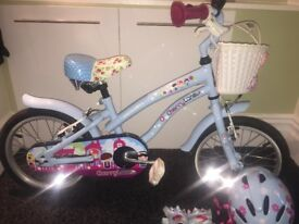 "Apollo Cherry Lane Kids' Bike 16"" immaculate condition complete with safety helmet and gloves"