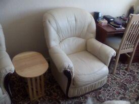 Italian leather sofa with chair