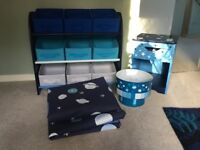 Kids Bedroom furniture. Space Design 3 Tier storage unit, light shade, curtains & bedside table.