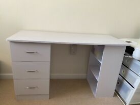 Sturdy & Compact White Desk with three drawers
