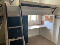 Cabin bed with built in wardrobe and desk