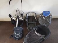 Full Travel System Quinny Buzz 3in1 silver frame - Rocking black + Baby carrier