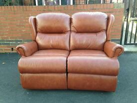 Sherbourne 2 seater leather tan sofa