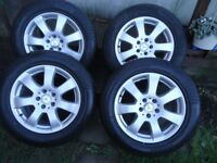 4 x17 GENUINE MERCEDES AlLOY WHEELS AND COMERCIAL TYRES VITO/VIANO (ALMOST NEW SET)
