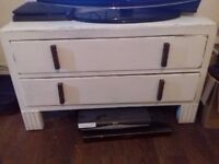 WHITE SHABBY CHIC WOODEN TV UNIT WITH DRAWERS