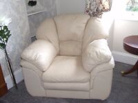 two large cream leather armchairs
