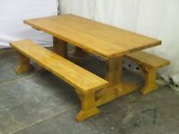 Farmhouse kitchen/dining table and bench set. Handmade in Wales. Free delivery.